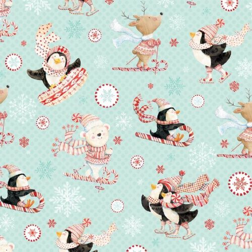 Studio e Peppermint Penguins Christmas Fabric